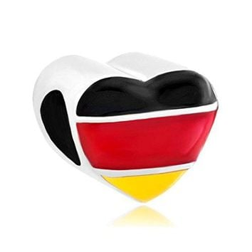 CharmsStory Heart Germany Patriotic Flag Charms Beads Charm For Bracelets