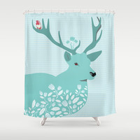 Blue Deer Shower Curtain by Ornaart