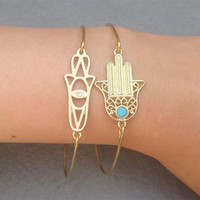 Hands Bangle 2 Bracelet Set