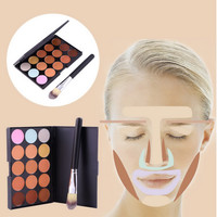 New 15 Colors Contour Face Cream Makeup Party Concealer Palette + Brush 2015 Hot
