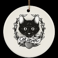 Cat Christmas Ornament - Cat Lovers - Ceramic Ornament