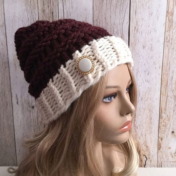 Chunky claret and fisherman knitted women hat beanie with vintage button, gift or for you