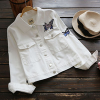 Butterfly Embroidery Turn-down collar long sleeve casual jacket girl coat outerwear autumn