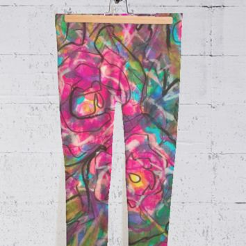 Abstract Rose Capris