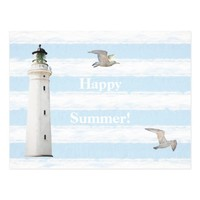 Blue white nautical rustic stripes lighthouse postcard