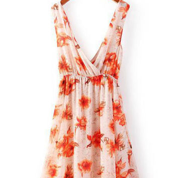 Summer Sleeveless Deep Double V-neck Flowers Printed Midi Chiffon Vest Dress