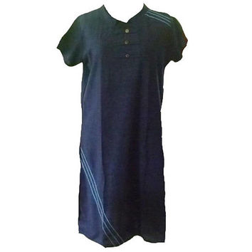 "Dark blue dress with tie waist mandarin sweatshirt size M/L bust 39"" / Hill tribe tee Tribal shirt Blouse Navy blue tunic sack"