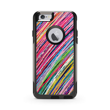 Pink and Green Colored Pencil Stripes Skin for the Apple iPhone Otterbox Commuter Case