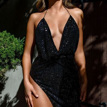 High Speed Black Sequin Sleeveless Spaghetti Strap Backless Halter Cowl Neck Mini Dress