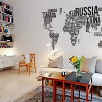 "Wall Decal Vinyl Sticker Home Decor Modern Art Mural "" World MAP "" 94.5'' x 50.4"""