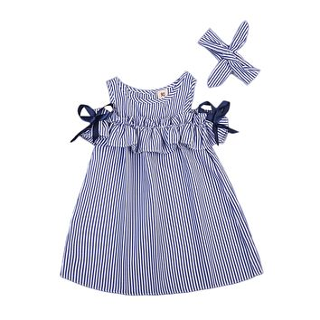 new Hot Summer Toddler Kids Baby Girls lovely Clothes Blue Striped Off-shoulder ruffles Party Gown Formal Dresses