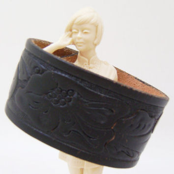 Black Leather Cuff Bracelet - Snap Wrist Band Flower Bracelet Fashion Jewelry - Size Large
