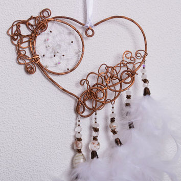 White Dream Catcher,  Dreamсatcher, Dream Catchers, Copper Heart, Wire copper, Brass, Accessories, beads, metal, glass, crystals