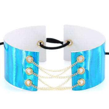 Gold chain Lace up chokers necklaces for women Holographic gothic Wide Chocker