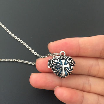 Aromatherapy Cross Heart Shape Diffuser Necklace
