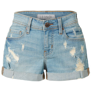 LE3NO Womens Medium Rise Stretchy Rolled Cuffs Summer Denim Shorts