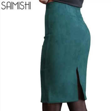 Super Deals Fashion Women Suede Solid Color Pencil Skirt Female Spring Basic High Waist Bodycon Split Knee Length Skirts