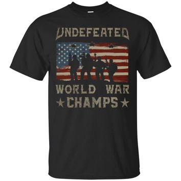 Mens Back-To-Back World War Champs July 4th Flag T-Shirt