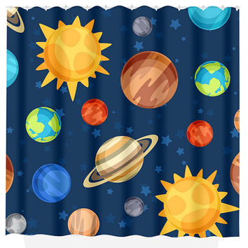 Planet SHOWER CURTAIN Outer Space Bathroom Custom MONOGRAM Space Personalized Boy Bathroom Decor Bath Beach Towel Plush Bath Mat Made in Usa