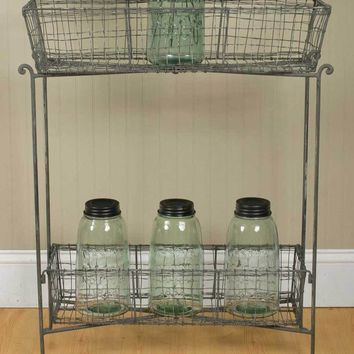 Rustic Two Basket Wire Floor Stand