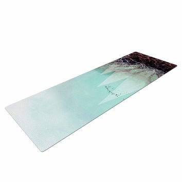 "Pia Schneider ""TREES Under MAGIC MOUNTAINS VI"" Teal White Yoga Mat"