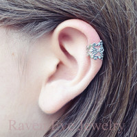 Filigree Ear Cuff Gothic Silver Tone Crystal stone accent Earring No Pierce non pierced ONE piece