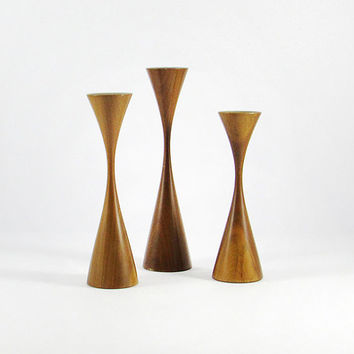 Amazing Signed Rude Osolnik Turned Wood Candle Holders, Walnut Candle holders, Set of Three, Mid-Century Modern, Authentic, Art