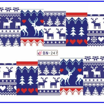 Nail Sticker Water Transfers Stickers Nail Decals TEXTILE FABRIC PATTERN XMAS CHRISTMAS SNOW MAN DEER BN241-252