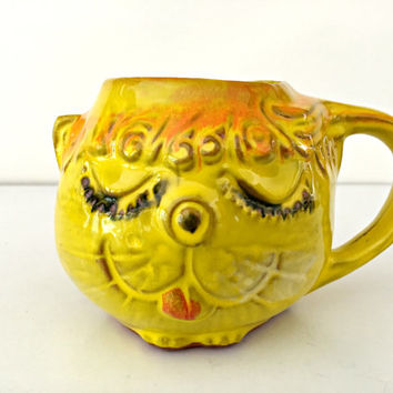 1960's Pacific Stoneware Cat Coffee Mug - Vintage Pottery Kitty Face Cup - Bright Yellow - Retro Mid Century - Cute!