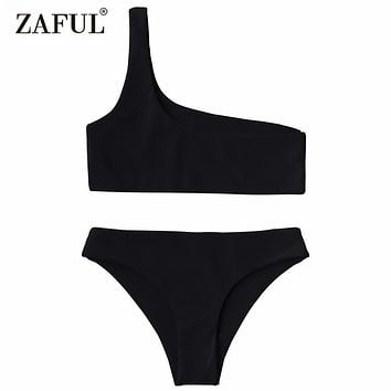 Zaful 2017 Women New One Shoulder Bikini Top and Bottoms Sexy Low Waisted Bralette One Shoulder Swimsuit Summer Beach Bikini