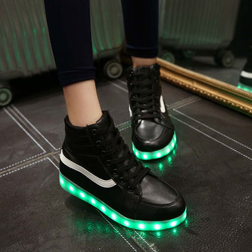 High-top Lightning Round-toe LED Noctilucent Shoes [4964954628]