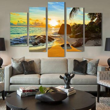 5 Panel Ocean Gulf Sunset Beach Seascape Wall Art Picture Print
