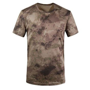 DCCKFS2 New Outdoor Hunting T-shirt Men Breathable Army Tactical Combat T Shirt Military Dry Sport Camo Camp Tees-Ruins Yellow