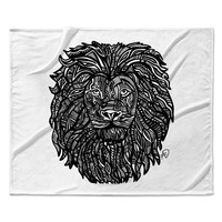 "Adriana De Leon ""The Leon"" Lion Illustration Fleece Throw Blanket"