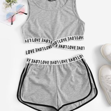Lettering Cross Strap Detail Tank & Dolphin Shorts Set