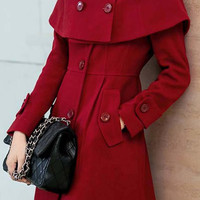 Long Sleeves Button Designed Pockets Cape Coat