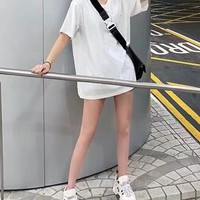 """""""OFF White """" Women's Leisure  Fashion Letter Printing  Loose Sleeve Couple Tops"""