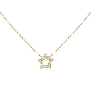 Open Star Necklace 14KT