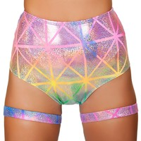 Laser Print High Waisted Shorts Ravewear