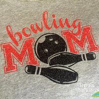 BOWLING MOM sparkly glitter tee shirt, 3 shirt styles to choose from