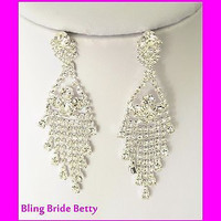 Designer Look Retro Chandelier Bridal Crystal Earrings and W Silver Tone