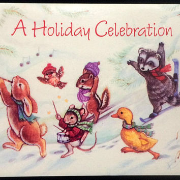 A Holiday Celebration - Invitation -Come Join in the Fun - Holiday Party & Get Togethers- Vintage 1980s - Happy Holidays