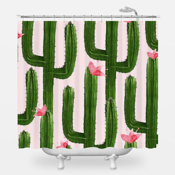 Happy Cacti Shower Curtain