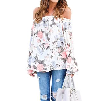 2017 Women Floral Printed Slash Neck Off-Shoulder Long Flare Sleeve Summer Autumn Casual Loose Blouse Shirt Tops Blusas S-3XL