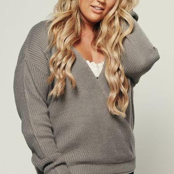 Curvy Secret Admirer Knitted Top (Pearl Grey)
