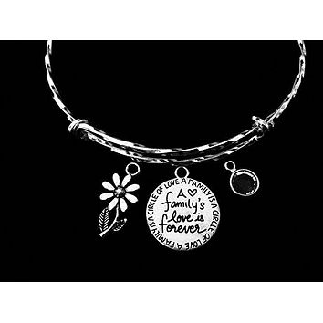 A Family's Love is Forever Jewelry Adjustable Bracelet Expandable Silver Charm Twisted Bangle One Size Fits All Gift Birthstone Daisy