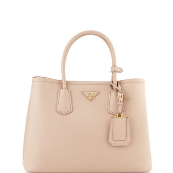 Saffiano Cuir Small Double Bag, Blush/Rose (Cammeo+Rosa) - Prada