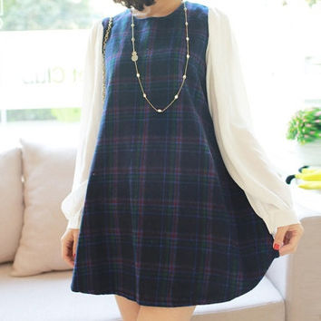 Navy Blue Multi Colored Checkered Print Casual Dress With Chiffon Panel 1318246