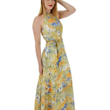 70s Watercolor Floral Halter Maxi Wrap Dress/Jacket Set-M