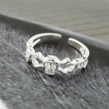 Sterling Silver Skull Open Rings High Quality Fashion Jewelry